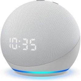 Amazon Echo Dot 4 Clock, glacier white