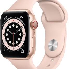 Apple Watch 6 GPS + Cellular 40mm Sport Band, gold/pink sand (M06N3EL/A)