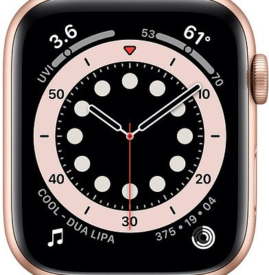 Apple Watch 6 GPS + Cellular 44mm Sport Band, gold/pink sand (MG2D3EL/A)