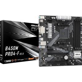 Mainboard ASROCK AMD B450 SAM4 MicroATX Memory DDR4 Memory slots 4 1xPCI-Express 2.0 1x 1xPCI-Express 2.0 16x 1xPCI-Express 3.0 16x 2xM.2 1x15pin D-sub 1xDVI 1xHDMI 2xAudio-In 1xAudio-Out 2xUSB 2.0 1xUSB type C 4xUSB 3.2 2xPS/2 1xRJ45 B450MPRO4-FR2.0
