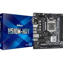 Mainboard ASROCK Intel H510 LGA1200 MicroATX 1xPCI-Express 3.0 16x 1xPCI-Express 4.0 16x Memory DDR4 1x15pin D-sub 1xDVI 1xHDMI 1xAudio-In 1xAudio-Out 1xMicrophone 4xUSB 2.0 2xUSB 3.2 2xPS/2 1xRJ45 H510M-HDV
