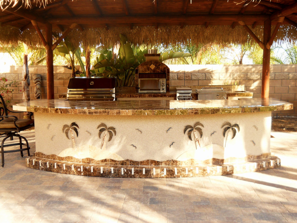 Two Piece BBQ Island W/ Solid Roof Palapa | Extreme ... on Palapa Bar Backyard id=11404
