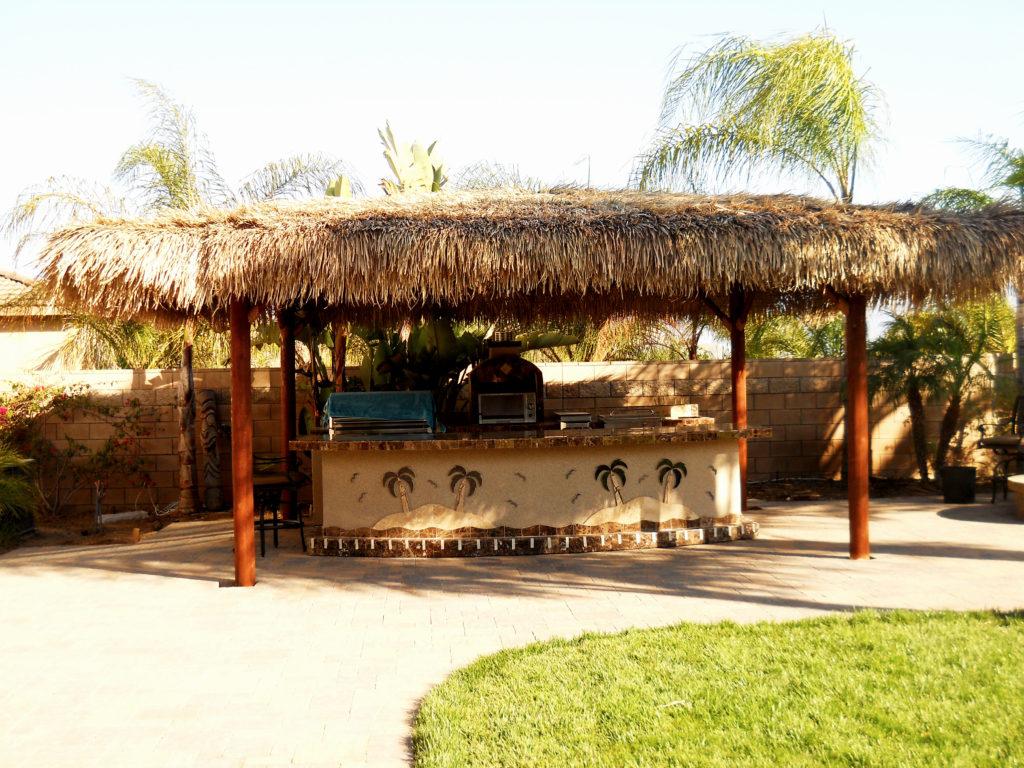 Two Piece BBQ Island W/ Solid Roof Palapa - Extreme ... on Palapa Bar Backyard id=61306