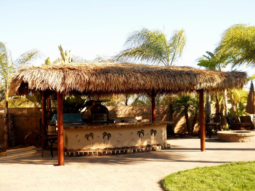 Two Piece BBQ Island W/ Solid Roof Palapa - Extreme ... on Palapa Bar Backyard id=89971