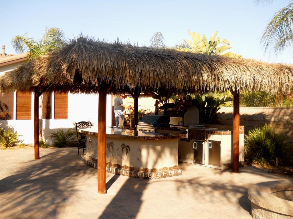Two Piece BBQ Island W/ Solid Roof Palapa - Extreme ... on Palapa Bar Backyard id=17895