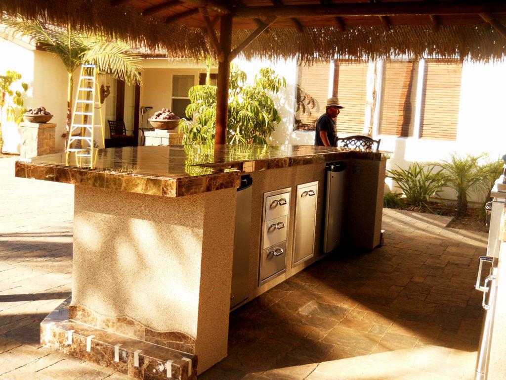 Two Piece BBQ Island W/ Solid Roof Palapa - Extreme ... on Palapa Bar Backyard id=73065