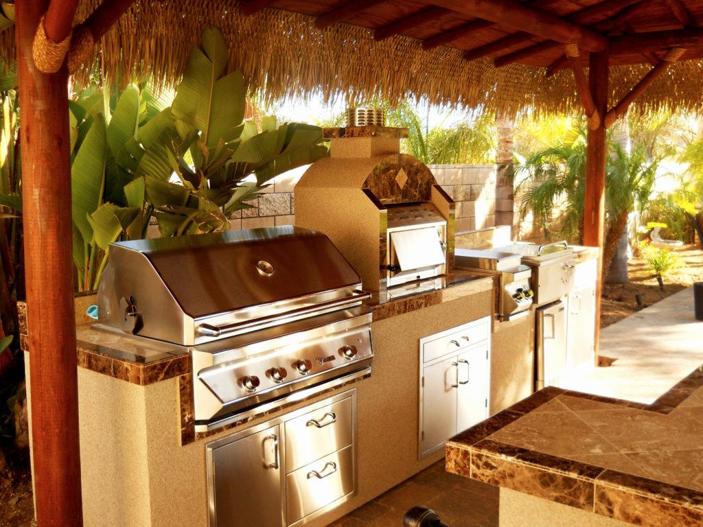 Two Piece BBQ Island W/ Solid Roof Palapa - Extreme ... on Palapa Bar Backyard id=33651