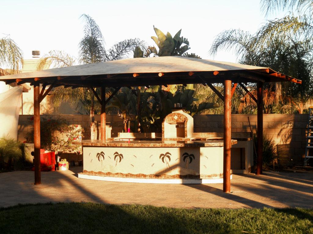 Two Piece BBQ Island W/ Solid Roof Palapa - Extreme ... on Palapa Bar Backyard id=48845