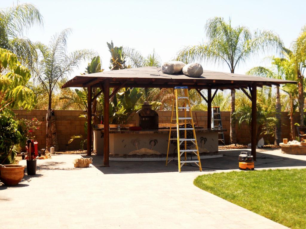 Two Piece BBQ Island W/ Solid Roof Palapa - Extreme ... on Palapa Bar Backyard id=38401