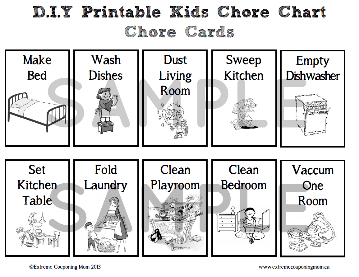 D I Y Printable Children S Chore Chart System Archives