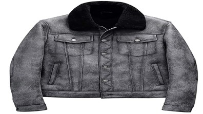 Denim Jacket Mens, Leather-Jacket-Gray Sheepskin Shearling Jacket B3 Flight Jacket Aviator