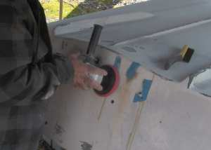 sanding depression in transom fiberglass repair