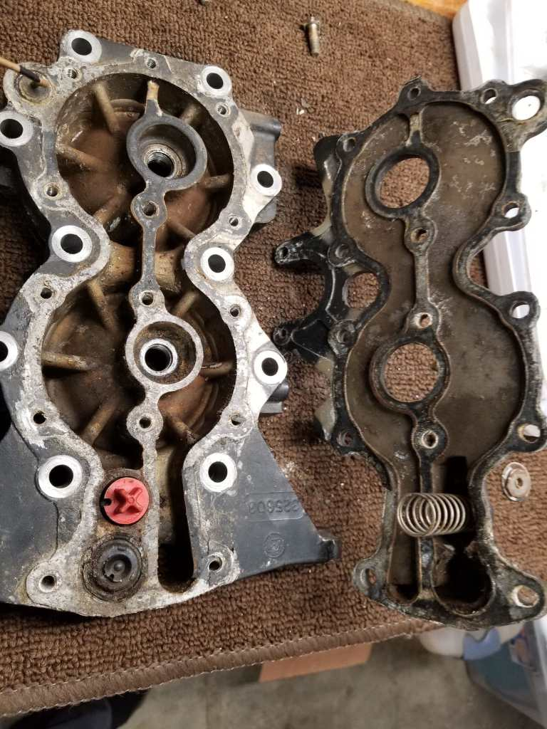 Cylinder Head and Old Thermostat