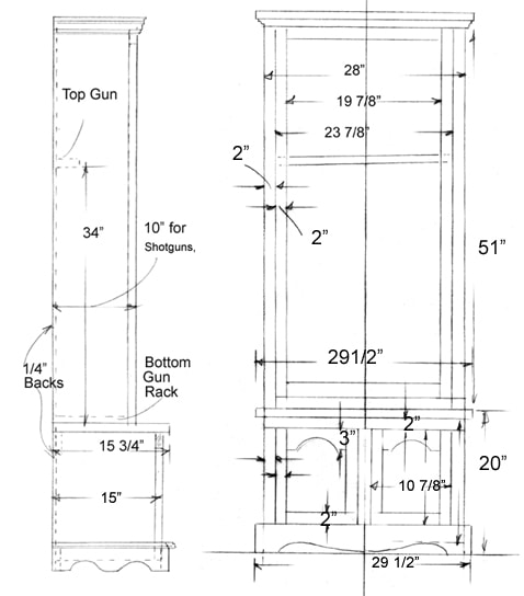 wooden gun cabinet plan