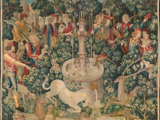 The Hunt of the Unicorn tapestry, dyed with weld (yellow), madder (red), and woad (blue). At the Metropolitan Museum of Art (New York)