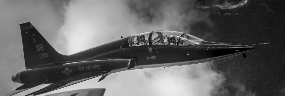 t38 in formation black and white photo