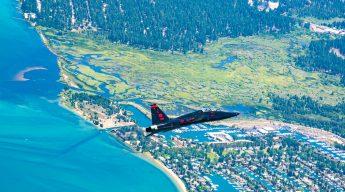 T-38 flies over Tahoe Keys at Lake Tahoe