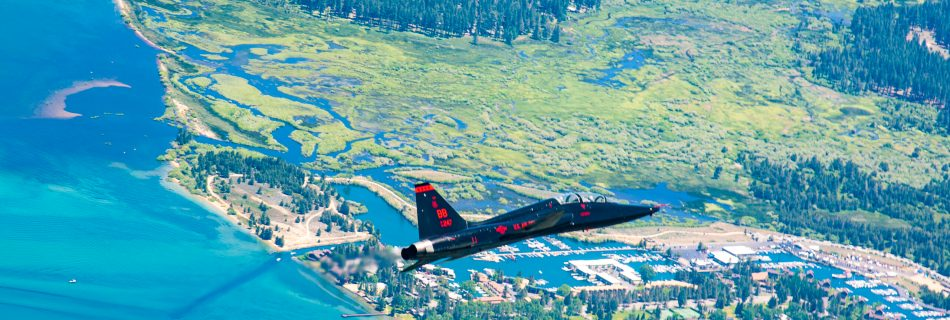T-38 flies over Tahoe Keys at Lake Tahoe