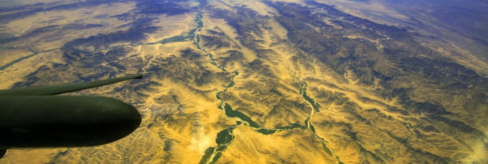 looking down at a large river in Afghanistan from the U-2 DragonLady