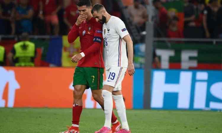Esta es la imagen en las espinilleras de Cristiano Ronaldo ante Francia