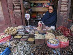 Comercio de pescado en salazón, Katmandú, Nepal