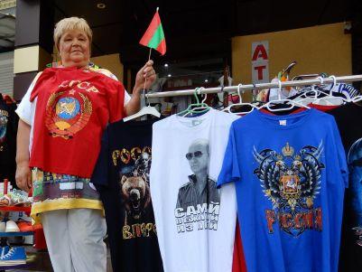 Transnistria, vendedora de artículos prorusos