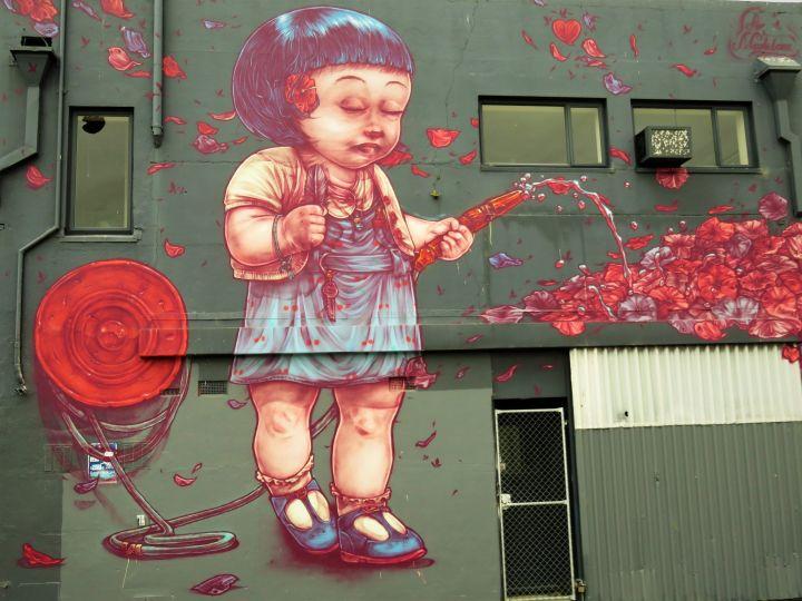 NUEVA ZELANDA, CHCH, Grafiti en muro