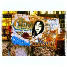 La Cantante Gilda. Placa votiva na entrada do Santuário, nos arredores do río Paranacito. Gilda era uma estrela emergente da cumbia pop argentina. Morreu em um desastre automobilístico em sete de setembro de 1996, às sete da noite. No local da tragédia, na qual se foram sete pessoas, os destroços do ônibus em que viajava foi transformado num santuário, onde devotos de toda a Argentina prestam homenagens à diva milagrosa. #mitos #gilda #santospopulares #milagre #argentina #paranacito #cumbia #lacantantegilda #noesmidespedida. Dez/2010