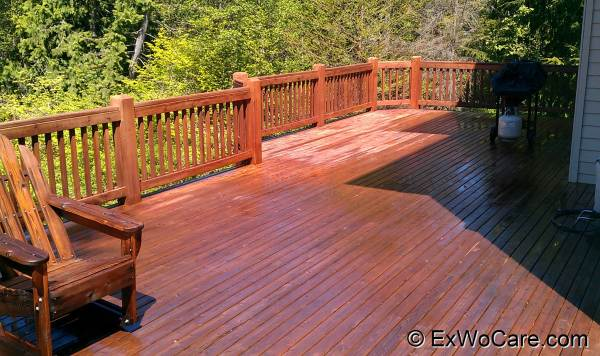 Dark Red on Cedar Deck Maintenance Coat