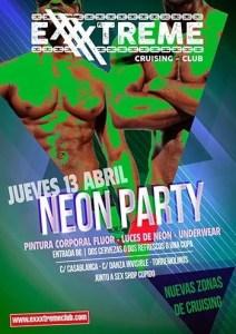Jueves 13 de abril. neon Party. Pintura corporal, luces de neon, underwear