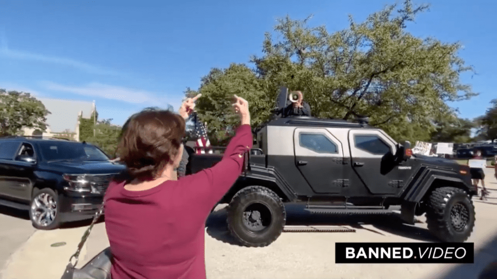 Protesting Alex Jones Armored Truck Bullhorn 11 4 2019 2