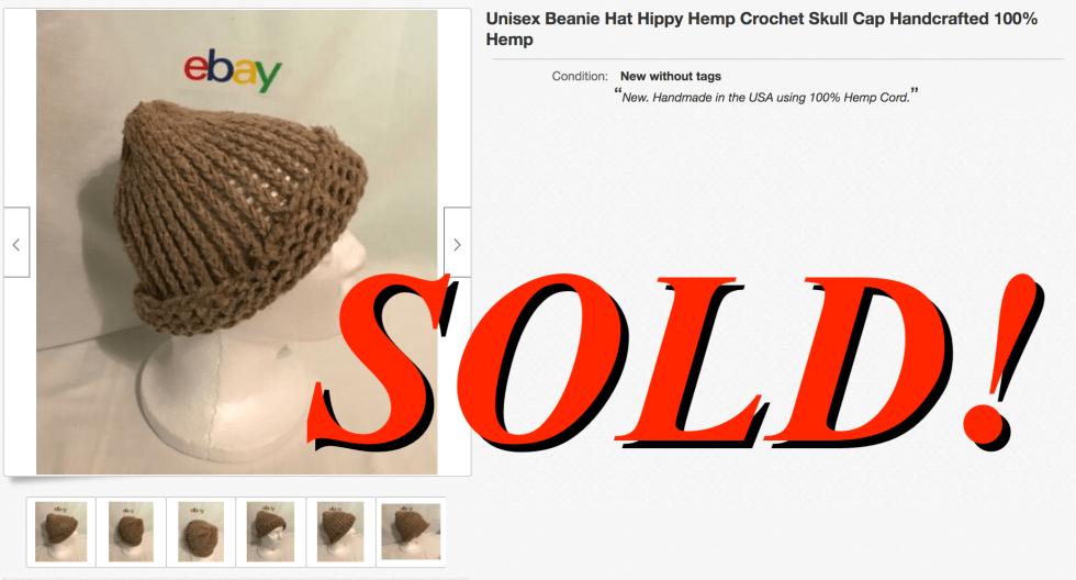 Unisex Beanie Hat Hippy Hemp Crochet Skull Cap Handcrafted 100% Hemp July 16th 2020 2