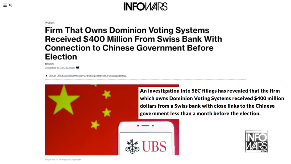 Dominion Voting Systems received $400 million dollars Swiss bank Chinese government Alex Jones Infowars EXZM December 1st 2020