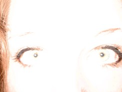Today, I thought I'd show how my eyes look when I try to do my makeup in a nice way. It's amazing how makeup can highlight your eyes, and I really liked how the flash blocked out almost everything except for the black parts of my eye. The second pic is just a normal shot without flash.