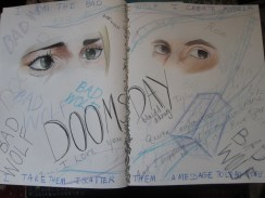 Dah dah dah dah dah...DOOO WEEE OOOOOO. Just in case you all didn't know, I love Doctor Who! Obviously, I focused mainly on their eyes from the episode. Also, to emphasize the separation of parallel worlds, I put their eyes on a separate page.