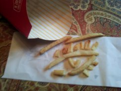 """""""As I eye my fry, I wonder how much it was dyed."""" My younger sibling came up with this little rhyme. Although fries from McDonalds can be enjoyable, it is better to make them a rare treat. What with all the dye and preservatives, it is still a very American staple. All things in moderation, I suppose..."""