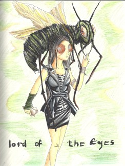 """When I read Lord of the Flies by William Golding, I actually enjoyed it more than I expected to. I gave the fly a human's eyes, and the girl the eyes from a fly. I based this on the cover art for the book by Ben Gibson. """"Ralph wept for the end of innocence, the darkness of man's heart, and the fall through the air of the true, wise friend called Piggy"""" (Lord of the Flies, 202)."""