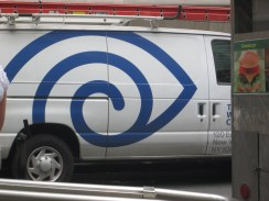I saw this in NYC, I'm not quite sure where. I don't think the van was advertising anything to do with eyes, so I loved how their design resembled one anyway.