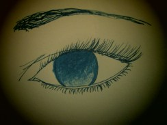 Without the pupil, the eye can look so bored! I doodled a simple sketch of an eye that represents how without a pupil, there is no point or intensity. In an eerie way, it almost looks vacant as well.
