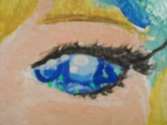 It's a bit old, but I started painting a mural in our classroom with Lucy in the Sky with Diamonds as a theme. The picture is just a closeup of her eyes.