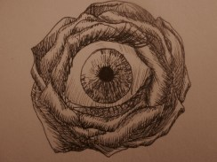 It's pretty straightforward here! I was looking for more eye ideas, and I stumbled upon someone's artwork that had flowers with eyes as the center. I chose a simple rose for mine and used crosshatching for shading.