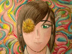 Based on one of my favorite pictures of John Lennon, this is a bit of an older drawing that I did, but I felt that it fit the theme. Also, just so no one's confused, I changed Lennon to a girl for this picture...because I felt like it.