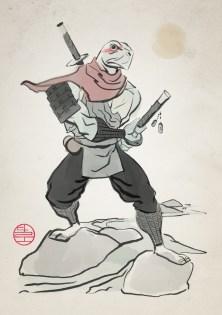 An old Japanese painting style Ninja Turtle