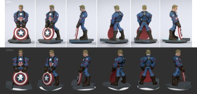 Sometimes I'll do revisions on toys directly in 3D. The top is a revised version I did to strengthen the pose and get more of Chris Evan's likeness. Final toy sculpt by Bryan Allen.