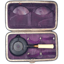 Miniature Liebreich Ophthalmoscope in Case with two Condensing lenses