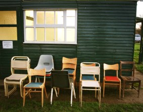 Stacks of chairs at Cottesbrooke village hall