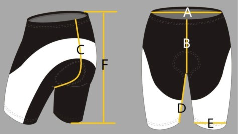 Bib Short Size Diagram