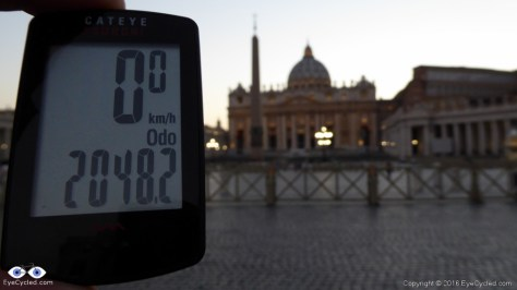 Mileage at arrival in Saint Peter's Square