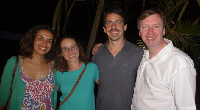 From left to right, Ada Cordeiro, Julie Assêncio, Thiago Ruiz and I