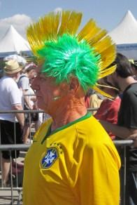 Brazilian mohican at England v Costa Rica, Belo Horizonte.